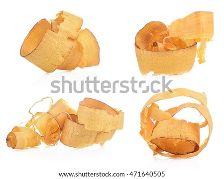 wood shavings set isolated on white background