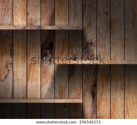 Wood shelf for exhibit. grunge industrial interior Uneven diffuse lighting version. Design component - stock photo