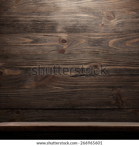 Wood shelf, grunge industrial interior - stock photo