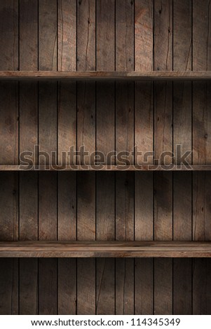 Wood shelf, grunge industrial interior Uneven diffuse lighting version. Design component - stock photo
