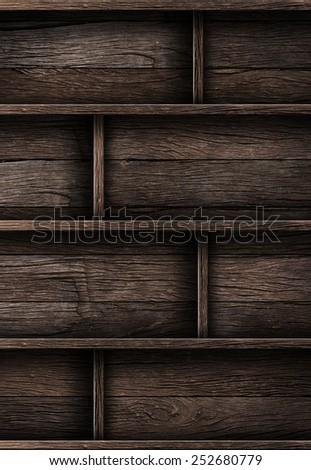 Wood shelf, grunge industrial interior Uneven diffuse lighting version. Design component - stock photo