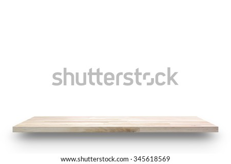 Wood shelf isolated on white background