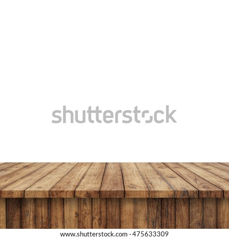 Wood Shelf Table isolated on white background