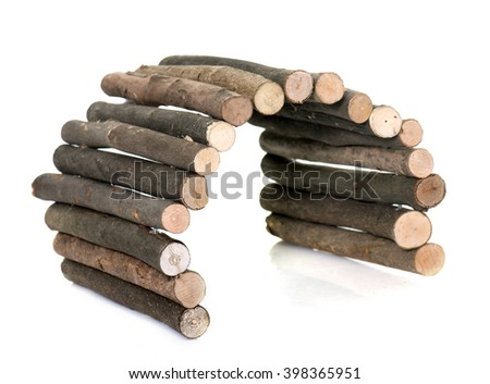 wood shelter for rodent in front of white background - stock photo