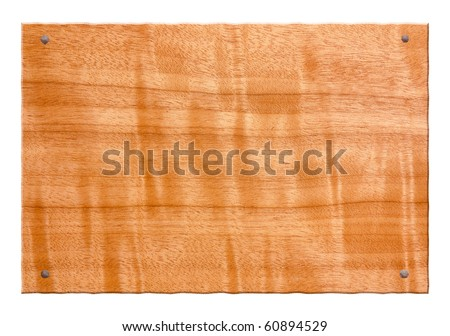 wood sign, a blank piece of tanganika with old nail, tablet for an inscription - stock photo