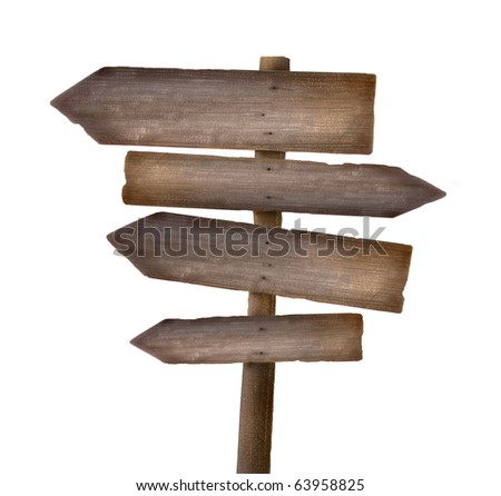 Wood sign against a white background - stock photo