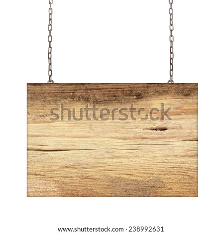 Wood sign from a chain isolated on white - stock photo