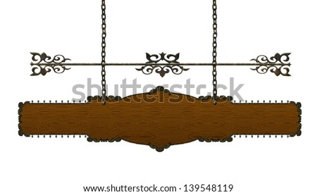 Wood Sign, Hanging From A Chain - stock photo