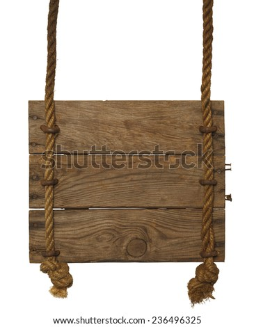 Wood Sign Hanging From Ropes Isolated on White Background. - stock photo