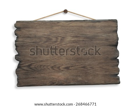 wood sign hanging on rope and nail isolated on white background - stock photo