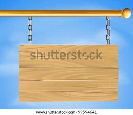 Wood sign hanging suspended with chains on pole with sky in the background illustration