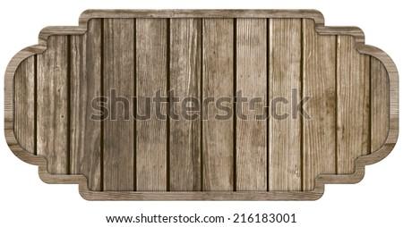 wood sign, isolated on white background - stock photo