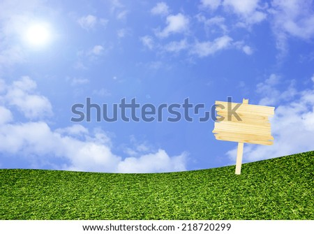 wood sign on green field under blue sky background - stock photo