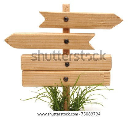 wood sign with grass isolated on a white background - stock photo