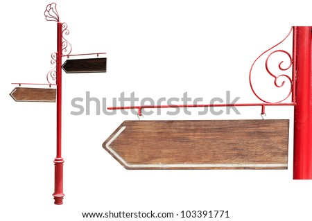 Wood signs ; isolated on white background - stock photo
