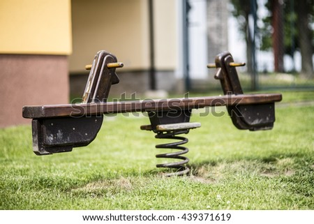 wood small horse toy - children playground - stock photo