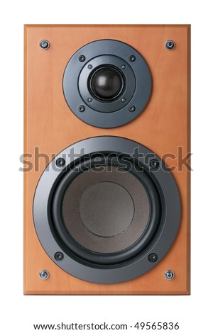 Wood speaker without textil cover - stock photo