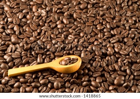 Wood spoon on coffee beans - stock photo