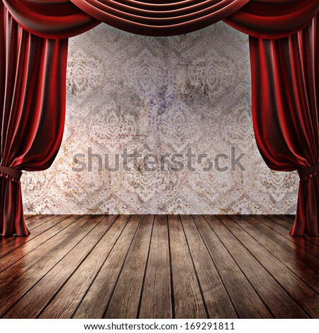 Wood stage background with theatrical curtains ,advertisement, music,comedy or performing arts concept with room for text or copy space advertisement. Part of a stage concept series - stock photo