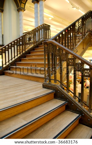 Wood stairs - stock photo