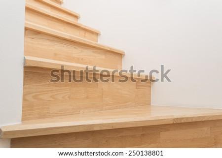 Wood stairs, interior - stock photo