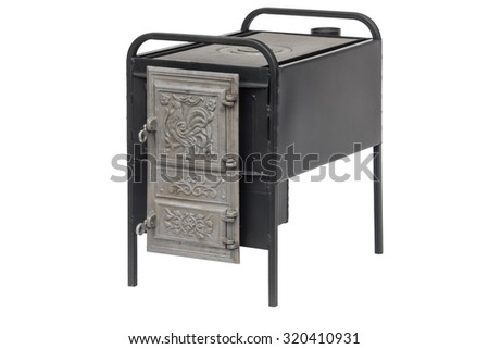 Wood stove isolated - stock photo