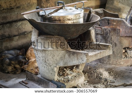 Wood stoves or Charcoal grills and pots in the kitchen of people countryside in the northeast of Thailand.