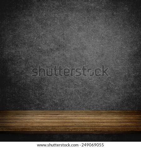 Wood table and grey concrete wall background - stock photo