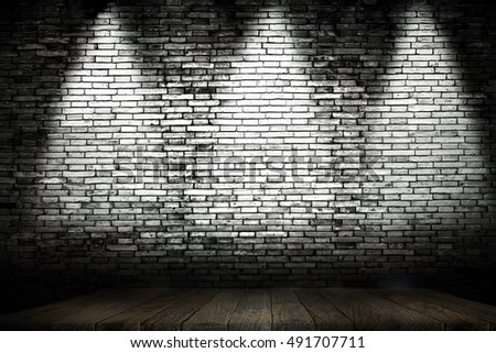 Wood Table And Spotlight With White Grunge Brick Wall Background Mock Up For Display Or