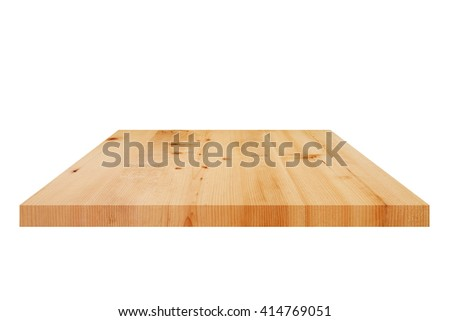 Wood table on white background.
