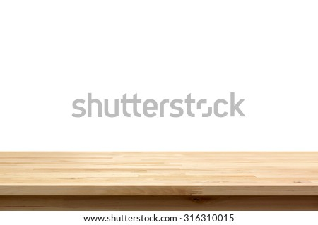 Wood table top isolated on white background - can be used for display or montage your products - stock photo