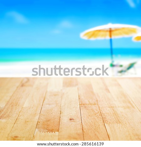 Wood Table Top On Blur Blue Sea And White Sand Beach Background, Summer  Concept