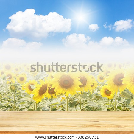Wood table top on unfocused flowers and sky background - can be used for montage or display your products - stock photo