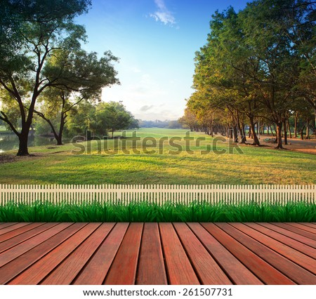 wood terrace and green grass field public park use as natural background,backdrop - stock photo