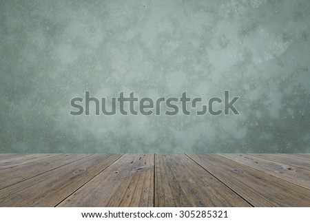 Wood terrace and Polished bare concrete wall interior texture background - stock photo