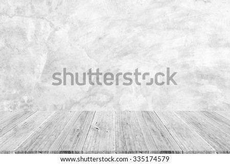Wood terrace and Polished bare concrete wall texture background surface white color - stock photo