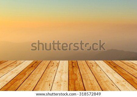 wood terrace with view of Huai Nam Dang national park in the morning sky backgrounds