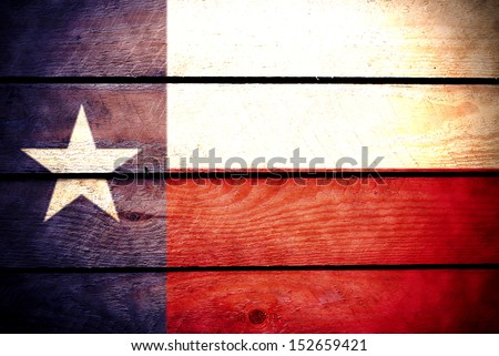wood Texas Flag - stock photo