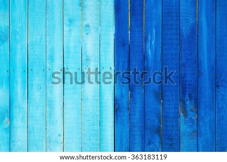 Wood texture. Background old panels. Of blue color. - stock photo