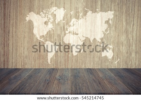 Wood texture background surface natural color , process in vintage style with wood terrace with world map