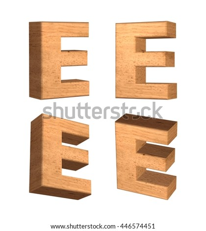 Wood texture capital letter E in 3d rendered on isolated white background.