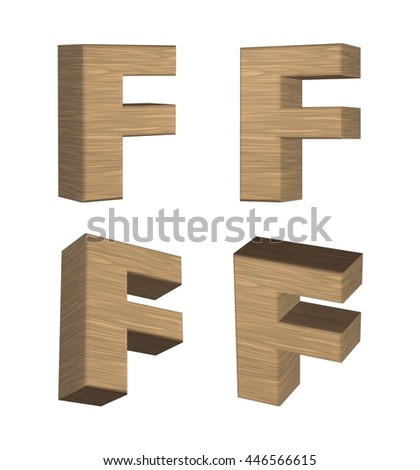 Wood texture capital letter F in 3d rendered on isolated white background.
