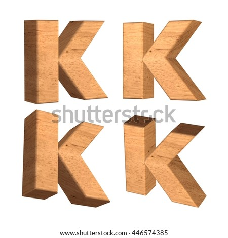 Wood texture capital letter K in 3d rendered on isolated white background.