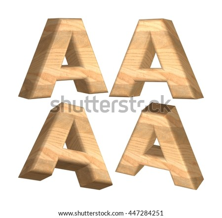 Wood texture caps letter A in 3D rendered on isolated white background.