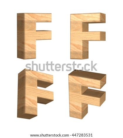 Wood texture caps letter F in 3D rendered on isolated white background.