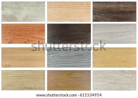 wood texture floor samples of laminate and vinyl floor tile on wooden background for new constuction