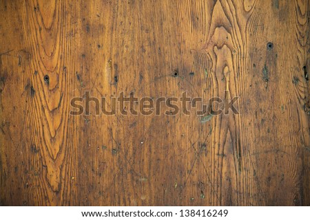 Wood texture � Old oak table top - stock photo
