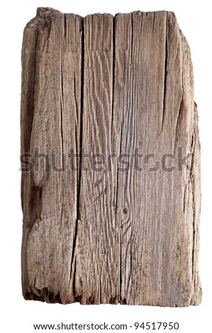 Wood texture. Old wooden board isolated on white background - stock photo