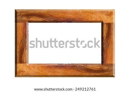 Wood texture Picture frame on white background