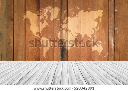 Wood texture surface natural color use for background with Wood terrace and world map